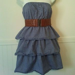 Dots denim ruffle tiered dress with belt size med